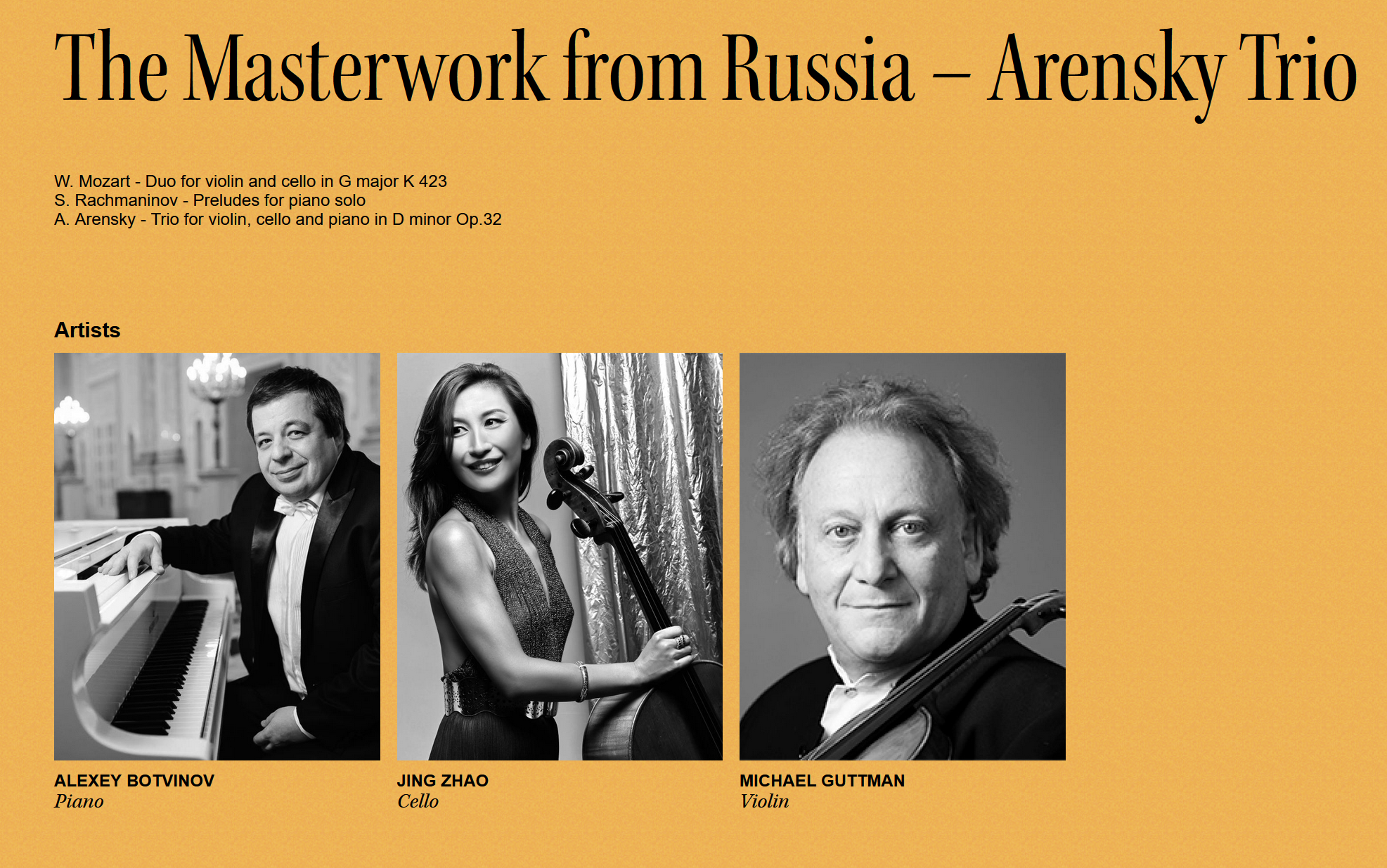 The Masterwork from Russia – Arensky Trio